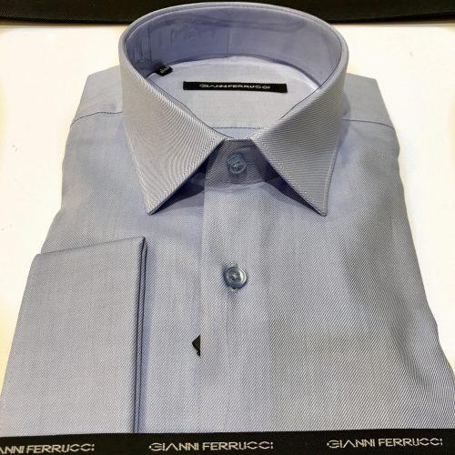 Chemise slim fit à rayures, Gianni Ferrucci - image chemise-bleue-2-500x500 on http://gianniferrucci-tlse.fr