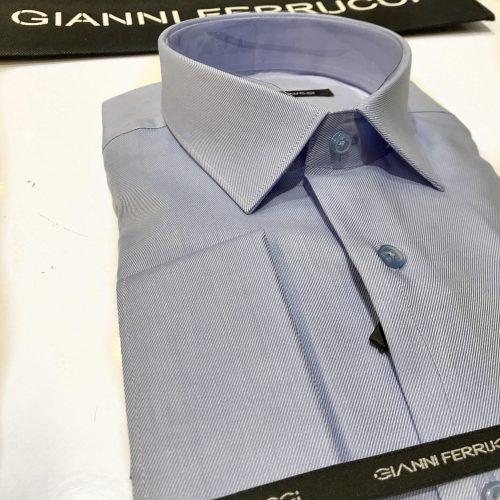 Chemise slim fit à rayures, Gianni Ferrucci - image chemise-bleue-500x500 on http://gianniferrucci-tlse.fr