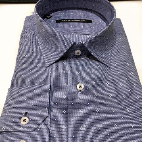 Chemise slim fit à rayures, Gianni Ferrucci - image chemise-bleue-motifs-2-500x500 on http://gianniferrucci-tlse.fr