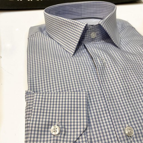 Chemise slim fit à rayures, Gianni Ferrucci - image chemise-carreau-bleu-500x500 on http://gianniferrucci-tlse.fr