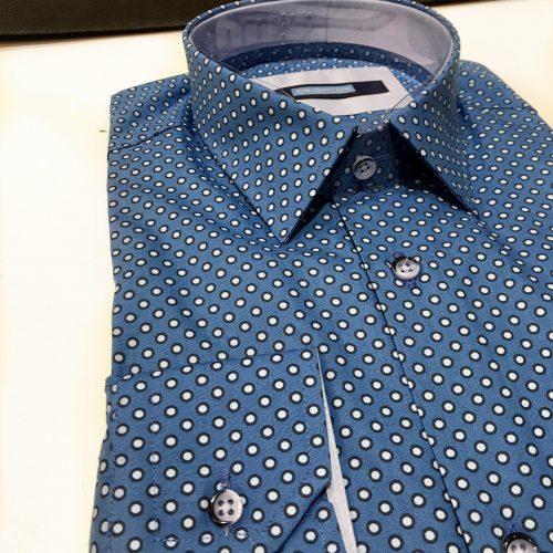 Chemise slim fit à rayures, Gianni Ferrucci - image chemise-pois-bleu-2-500x500 on http://gianniferrucci-tlse.fr