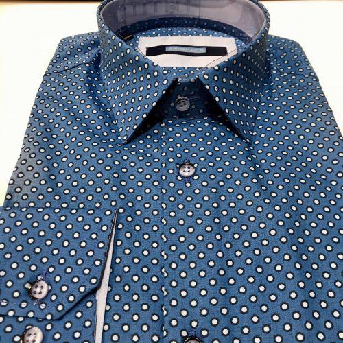 Chemise slim fit à rayures, Gianni Ferrucci - image chemise-pois-bleu-500x500 on http://gianniferrucci-tlse.fr