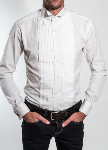 Chemise à plastron plissé 100% coton, homme, gianni ferrucci